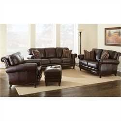 Steve Silver Company Chateau 4 Piece Leather Sofa Set in Antique Chocolate Brown