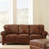 Steve Silver Company Silverado Leather Sofa in Caramel Brown with Two Accent Pillows