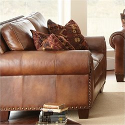 Steve Silver Company Silverado Leather Loveseat in Caramel Brown