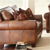 Steve Silver Company Silverado Leather Loveseat in Caramel Brown with Two Accent Pillows