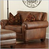 Steve Silver Company Silverado Leather Chair in Caramel Brown with Two Accent Pillows