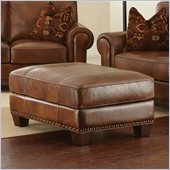 Steve Silver Company Silverado Leather Ottoman in Caramel Brown