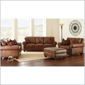 Steve Silver Company Silverado 4 Piece Leather Sofa Set in Caramel Brown