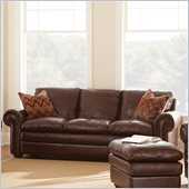 Steve Silver Company Yosemite Leather Sofa in Chestnut with Two Accent Pillows
