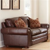 Steve Silver Company Yosemite Leather Loveseat in Chestnut with Two Accent Pillows