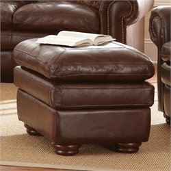Steve Silver Company Yosemite Leather Ottoman in Chestnut
