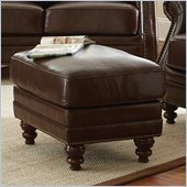 Steve Silver Company Biltmore Leather Ottoman in Cocoa Brown