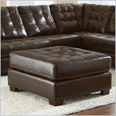 Steve Silver Company Soho Leather Ottoman in Ebony Brown