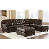 Steve Silver Company Soho 3 Piece Leather Sofa Set in Ebony Brown