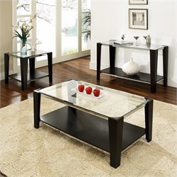 Steve Silver Company Newman 3 Piece Coffee Table Set in Espresso
