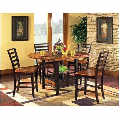 Steve Silver Company Abaco 5 Piece Drop Leaf Counter Height Storage Dining Table and Chairs Set (Free Chair Included)