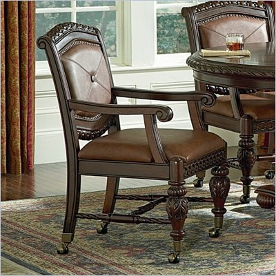 Steve Silver Company Antoinette Bicast Leather Formal Dining Arm Chair in Cherry Finish