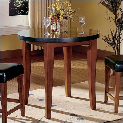 Steve Silver Company Bello Round Granite Counter Height Table in Rich Cherry Finish
