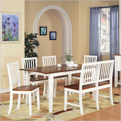Steve Silver Company Branson 7 Piece Dining Set in White and Oak