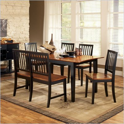 Steve Silver Company Branson 7 Piece Dining Set in Black and Cherry