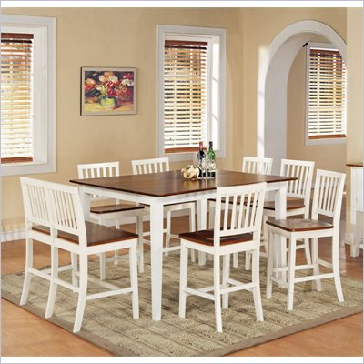 Steve Silver Company Branson 7 Piece Counter Height Dining Set in White and Oak