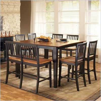 Steve Silver Company Branson 7 Piece Counter Height Dining Set in Black and Cherry