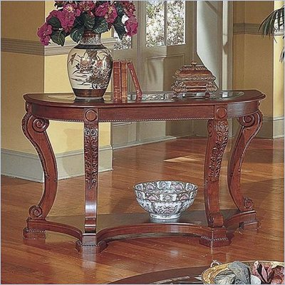 Steve Silver Company Canterbury Etched Glass Cherry Sofa Table Etched Glass