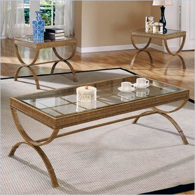 Steve Silver Company Emerson Coffee Table and End Table Set Gold Bronze