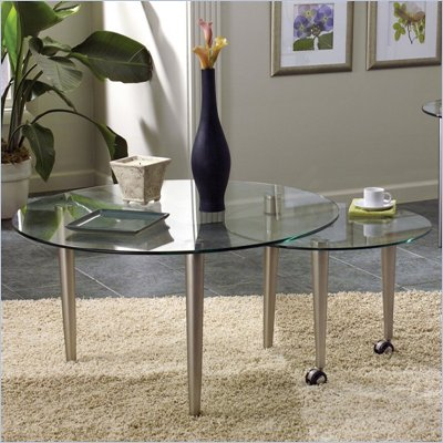 Steve Silver Company Galaxy Round Glass Top Coffee Table in Champagne Finish