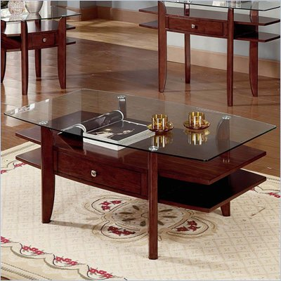 Steve Silver Company Gayle Cherry Coffee Table with Glass Top