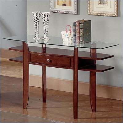 Steve Silver Company Gayle Cherry Sofa Table with Glass Top