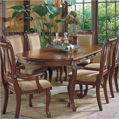 Steve Silver Company Harmony Formal Dining Table With 18&quot; Leaf in Rich Cherry Finish