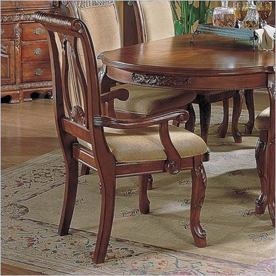 Steve Silver Company Harmony Fabric Dining Arm Chair in Cherry