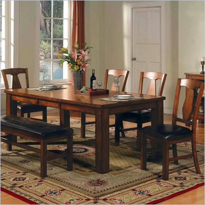 Steve Silver Company Lakewood 5 Piece Dining Table Set in Rich Oak (Free Chair Included)