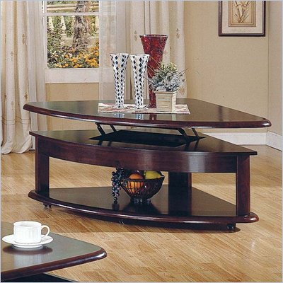 Steve Silver Company Lidya Cherry Corner Wedge Lift-Top Cocktail Table with Casters
