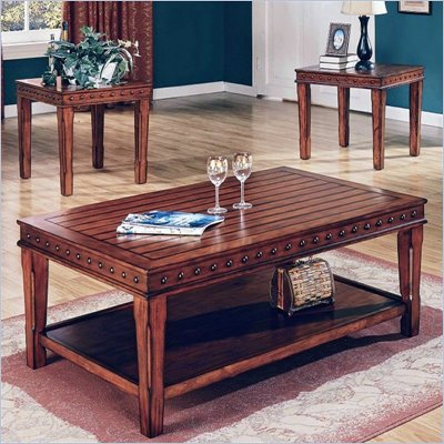 Steve Silver Company Odessa Coffee Table and End Table Set in Chestnut