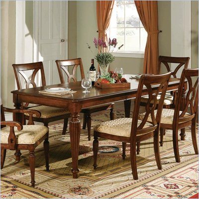 Steve Silver Company Ridgedale Formal Dining Table With 18&quot; Leaf in Rich Cherry Finish