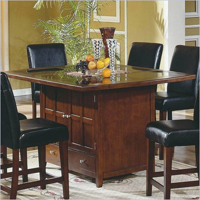 Steve Silver Company Serena Granite Counter Height Table in Rich Cherry Finish