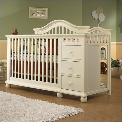 Sorelle Cape Cod 4-in-1 Convertible Crib &amp; Changer Combo in French White