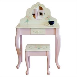 Fantasy Fields Hand Carved Bouquet Classic Vanity Table and Stool Set