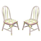 Teamson Kids Hand Painted Kids Chair Set in Pink Crackle Finish
