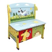Teamson Kids Sunny Safari Hand Painted Kids Storage Bench