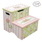 Teamson Design Hand Painted Kids Stool with Storage in Pink Crackle Finish