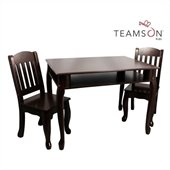 Teamson Kids Windsor Rectangular Hand Painted Kids Table and 2 Chairs Set in Espresso