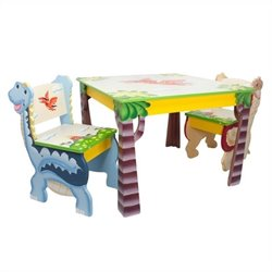 Fantasy Fields Hand Painted Dinosaur Kingdom Table and Set of 2 Chairs