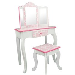 Teamson Kids Fashion Prints Vanity Stool Set with Mirror Giraffe in Baby Pink and White