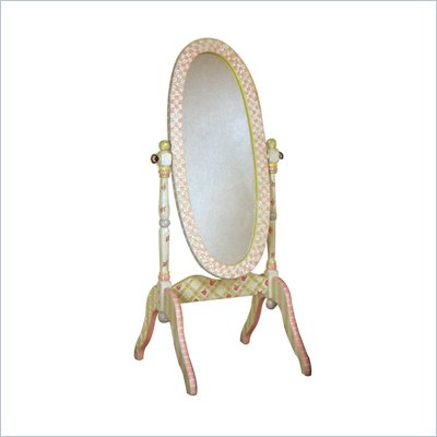 Teamson Kids Hand Painted Girl's Standing Mirror in Crackle Finish