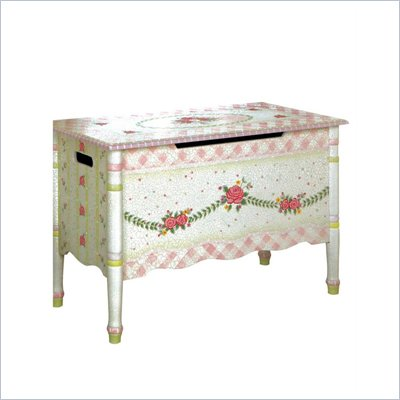 Teamson Design Hand Painted Girl's Toy Chest in Pink Crackle Finish