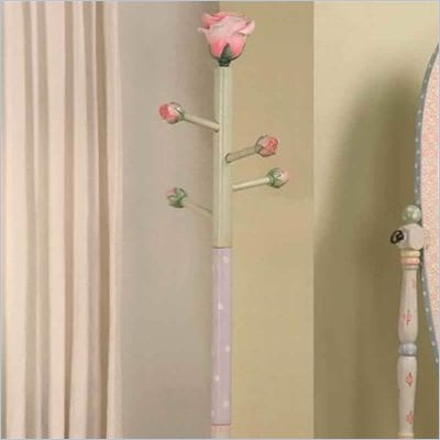 Teamson Kids Hand Painted Rose Standing Coat Rack in Pink Crackle Finish