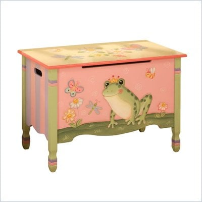 Teamson Kids Magic Garden Hand Painted Kids Toy Chest/Box