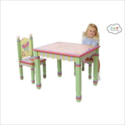 Teamson Kids Magic Garden Hand Painted Kids Table and Chair Set