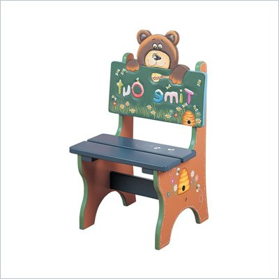 Teamson Kids Safari Hand Made &amp; Painted Bear Themed Kids Time Out Chair