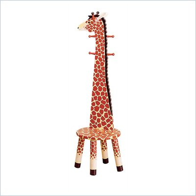 Teamson Kids Safari Hand Painted Giraffe Themed Animal Kids Stool with Standing ?Coat Rack