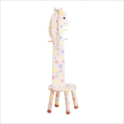 Teamson Kids Safari Pony Kids Stool with Standing Coat Rack