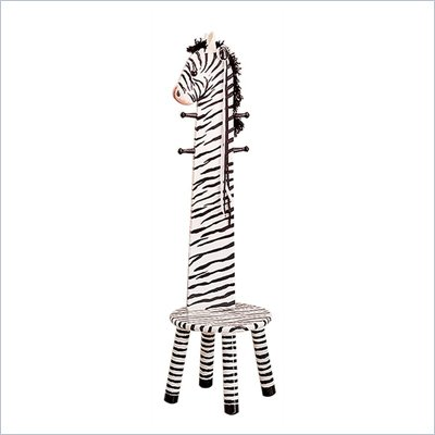 Teamson Kids Safari Zebra Kids Stool with Standing Coat Rack